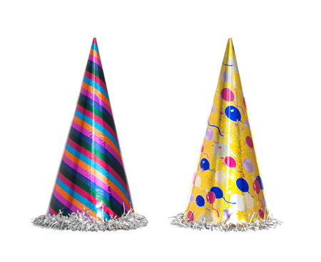 Party hat isolated on the white background, New year celebration items Stock Photo