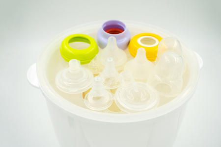nipples: Steaming and sterilizing nipples and milk bottles for baby