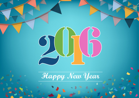 futures: Happy New Year 2016 text design Illustration