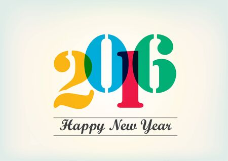 outgoing: Happy New Year 2016 vector text design