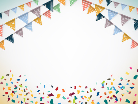 празднование: Празднуйте баннер. Партийные флаги с конфетти. Векторная иллюстрация.