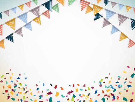 慶典: 慶祝橫幅。黨旗與紙屑。矢量插圖。