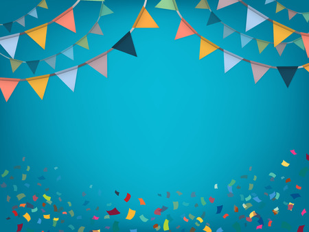 triangle flag: Celebrate banner. Party flags with confetti. Vector illustration.