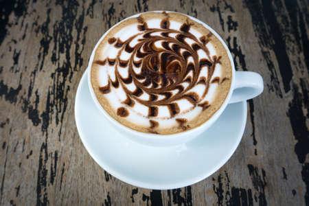 mocha: A cups of mocha coffee on wood table