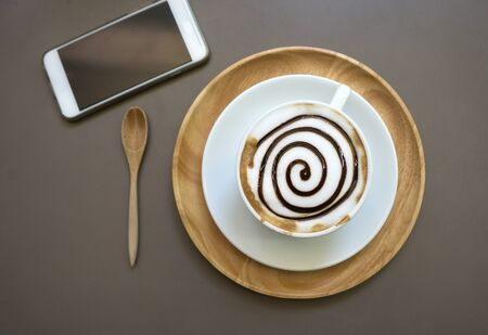 mocha: Cup of mocha coffee on wood table - Top view