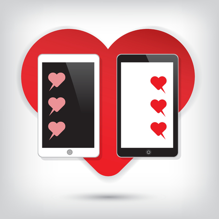 Love Mobile phone with heart chat vector icon