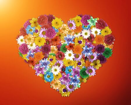 Flower arrangement is Heart-shaped- Designed for valentines day concept. Stock Photo