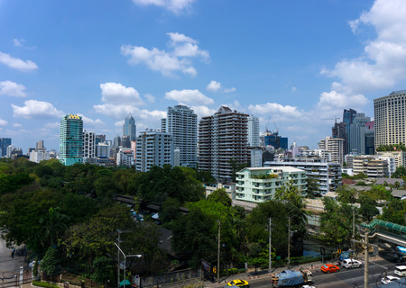 bangkok city and modern office buildings and garden in Aerial view Stock Photo