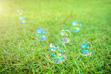 soap bubbles laying on green grass background. A soap bubble is an extremely thin film of soapy water enclosing air that forms a hollow sphere with an iridescent surface. Stock Photo
