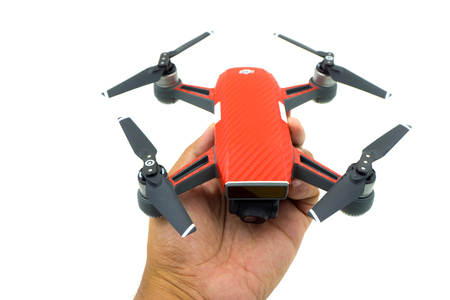 sell: BANGKOK , THAILAND - JULY 29 , 2017 : DJI Spark drone start sell in Thailand, Spark is a mini drone from DJI. Editorial