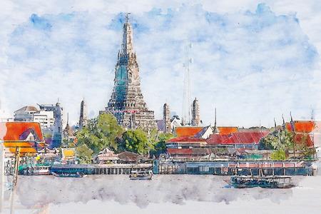Watercolor illustration of Wat Arun, Bangkok, Thailand.