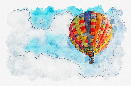Watercolor painting illustration of Hot air balloon in the sky.