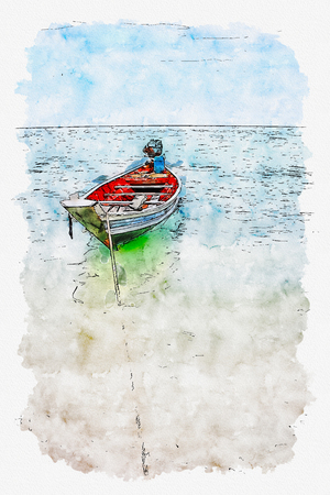 watercolor illustration of Thailand boat on the sea.