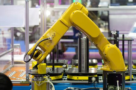 Robot hand machine in industrial that is working process. Stok Fotoğraf