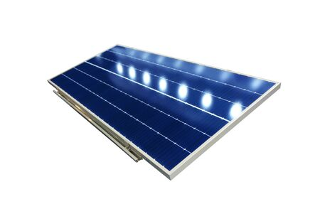Photovoltaic solar panels absorb sunlight as a source of energy to generate direct current electricity.