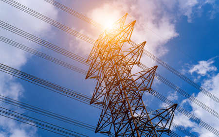 High voltage pole or High voltage tower in low angle view