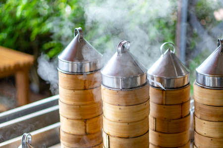 Dim sum being steamed in a dim sum restaurant