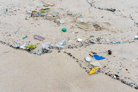 Plastic waste environment pollution on Mai Khao Beach, Phuket, Thailand.
