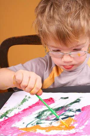 Boy painting4 Stock Photo