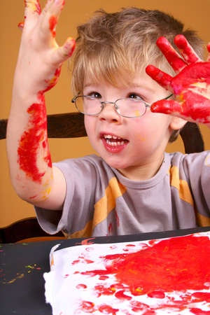 Boy painting5 Stock Photo