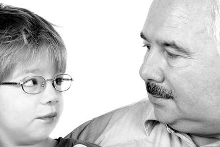 descendants: Grandad & Grandson Stock Photo