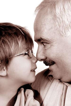 Grandad & Grandson Standard-Bild