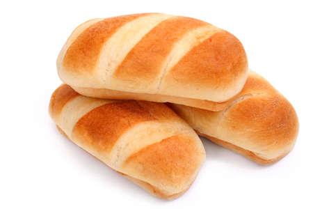 Three small loafs on white background Standard-Bild