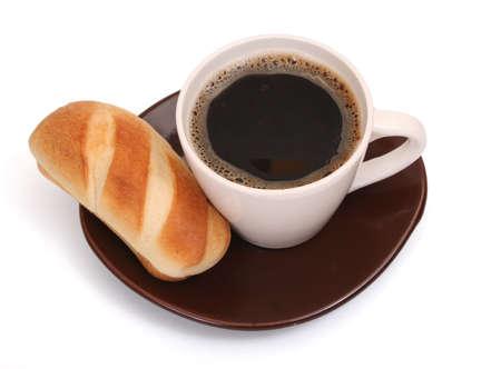 朝食時間 - ロールパンとコーヒー 写真素材