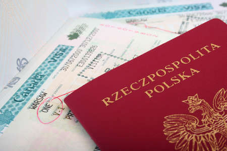 Polish Passport with Canadian visa photo