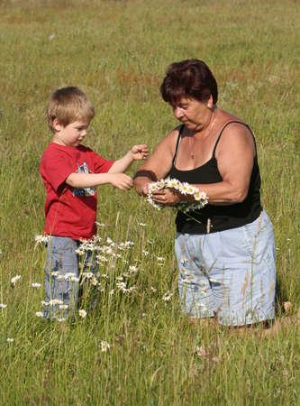 Abuela y nieto recogiendo flores  Foto de archivo - 2802997