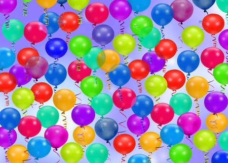 globos fiesta: El partido colorido hincha el fondo Foto de archivo