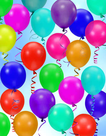 string together: colorful party balloons background Stock Photo