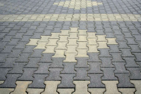 Close-up of an aged brick paved courtyard