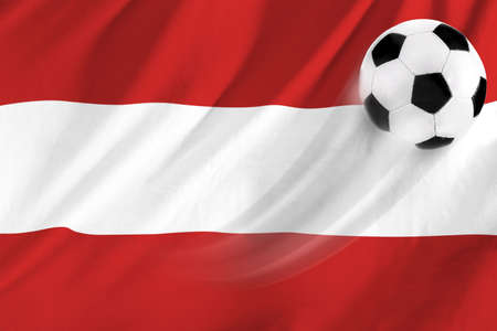 soccer ball on background of the flag austria photo