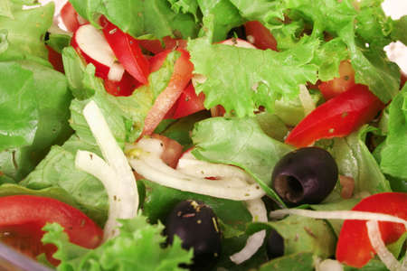 Tossed green salad, with tomatoes photo