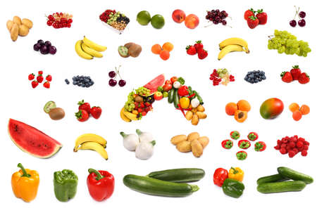 Set of different bright tasty fruits isolated on white photo