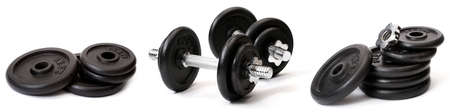 kilograms: Weights, isolated on white background Stock Photo