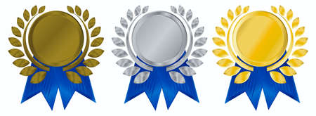 recognition: vector gold, silver and bronze award ribbons