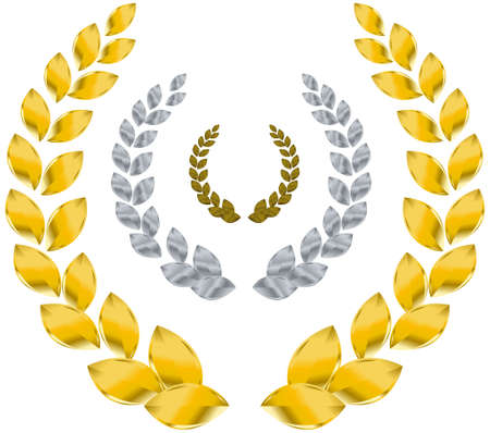 gold silver bronze: Laurel wreath   Stock Photo