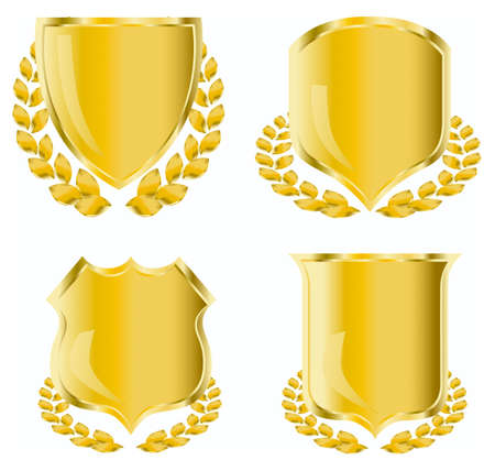 golden shield with laurel wreath Stock Photo - 3816247