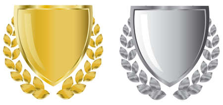 shield logo: golden and silver shields with laurel wreath