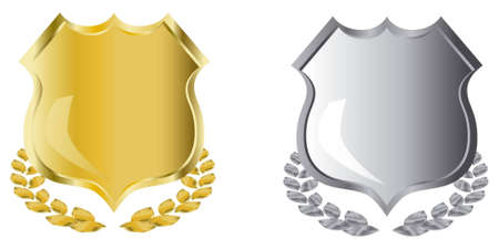 golden and silver shields with laurel wreath Stock Photo - 3813683