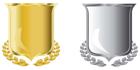 golden and silver shields with laurel wreath Stock Photo - 3813684