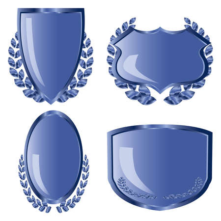 Blue shields with laurel wreath photo