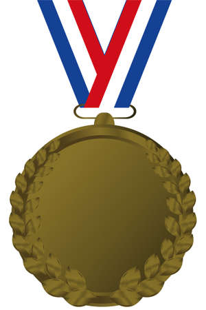 clipart podium: bronze medal with tricolor ribbon