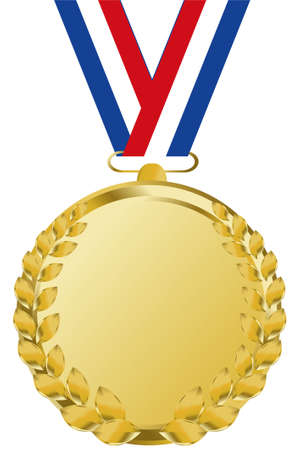 gold medal: gold medal with tricolor ribbon