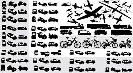 vector colección de siluetas de transporte Foto de archivo - 3816332