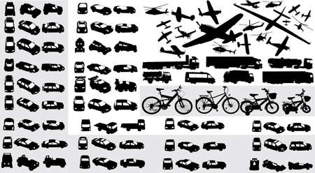 vector collection of transportation silhouettes photo