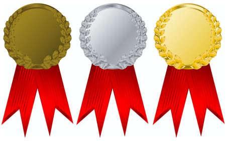 vector gold, silver and bronze award ribbons
