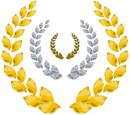 laurel wreath gold, silver, bronze